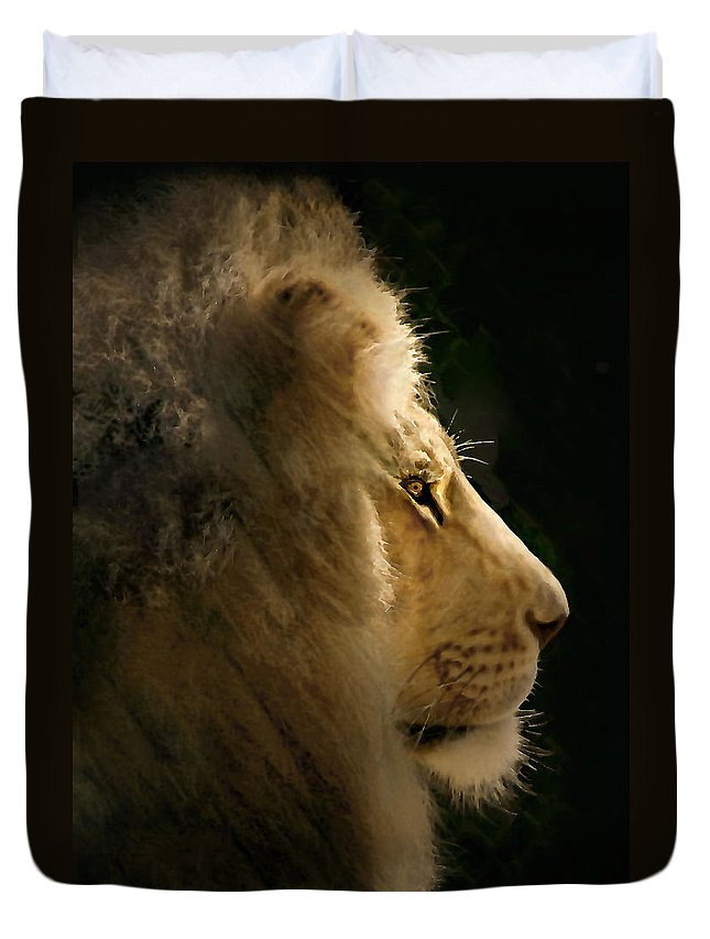 Lion Duvet Cover featuring the photograph Lion Of Judah II by Sharon Foster