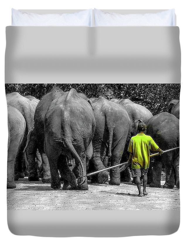 Elephants Duvet Cover featuring the photograph Little Big Man by Jeff Watts