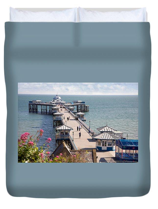 Llandudno Duvet Cover featuring the photograph Llandudno Pier North Wales Uk by Mal Bray