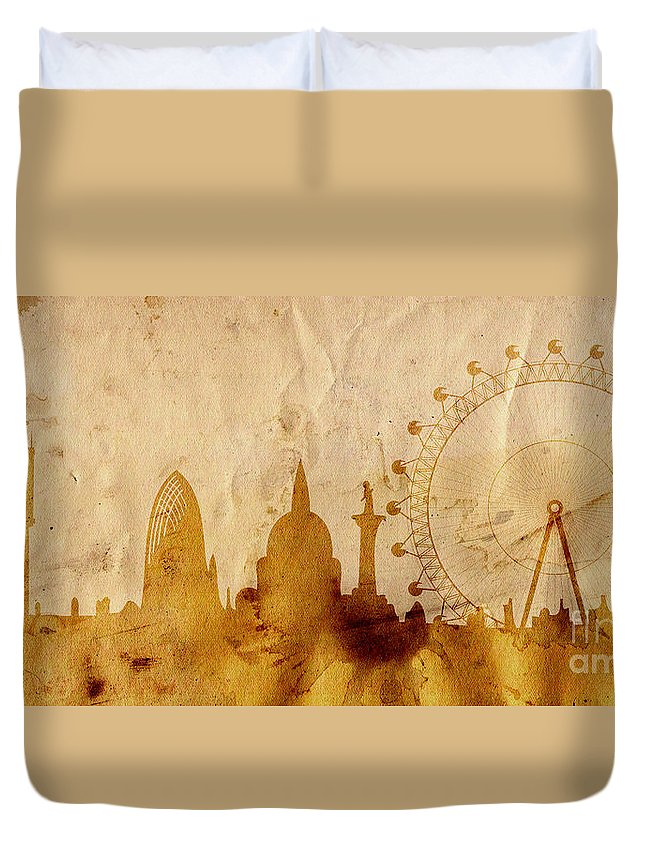 London Duvet Cover featuring the mixed media London by Michal Boubin