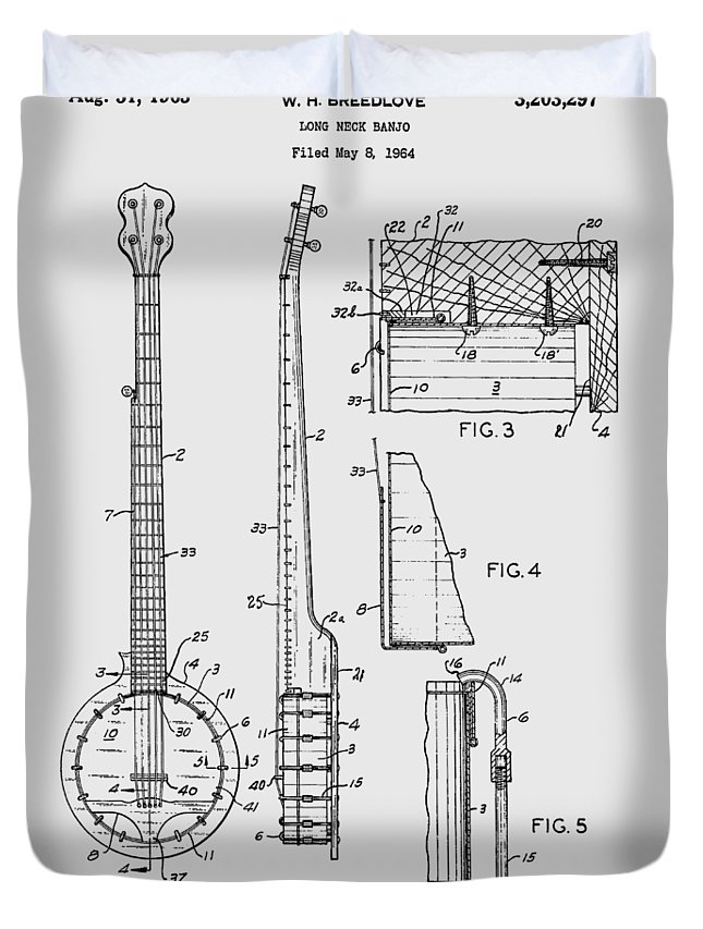 Long Neck Banjo Duvet Cover featuring the photograph Long Neck Banjo Patent From 1964 by Chris Smith