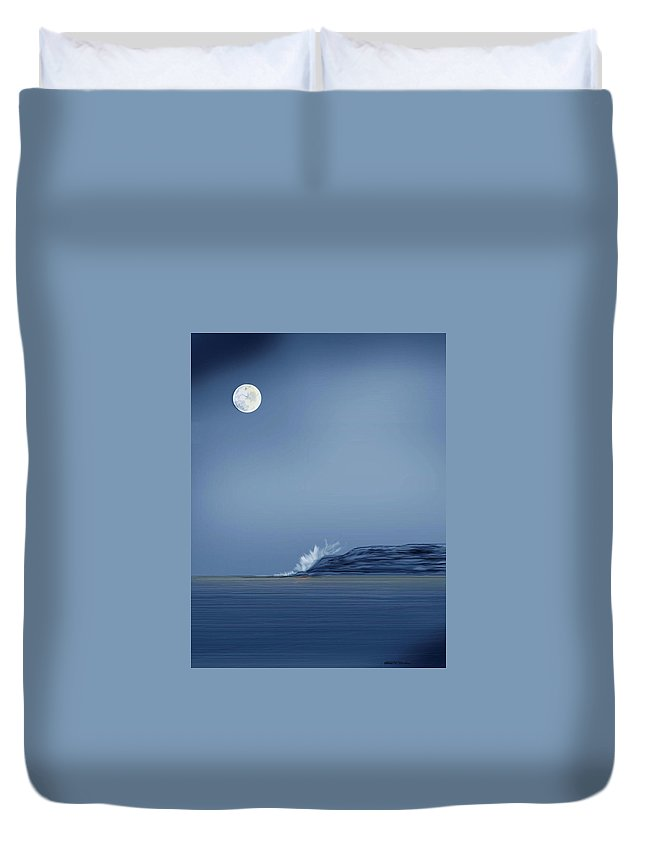Seascape Duvet Cover featuring the painting Looking At The Moon by Anne Norskog