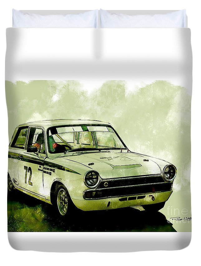 Ford Duvet Cover featuring the photograph Lotus Cortina by Roger Lighterness