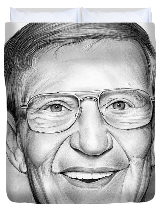 Lou Holtz Duvet Cover featuring the drawing Lou Holtz by Greg Joens