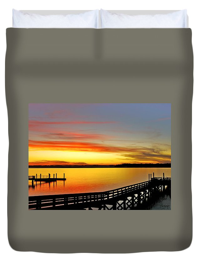 Sunset Duvet Cover featuring the photograph Lowcountry Autumn by Phill Doherty