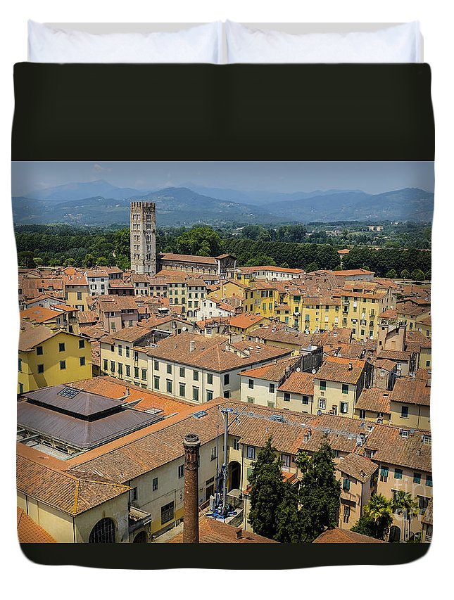 Lucca Duvet Cover featuring the photograph Lucca Italy by Edward Fielding
