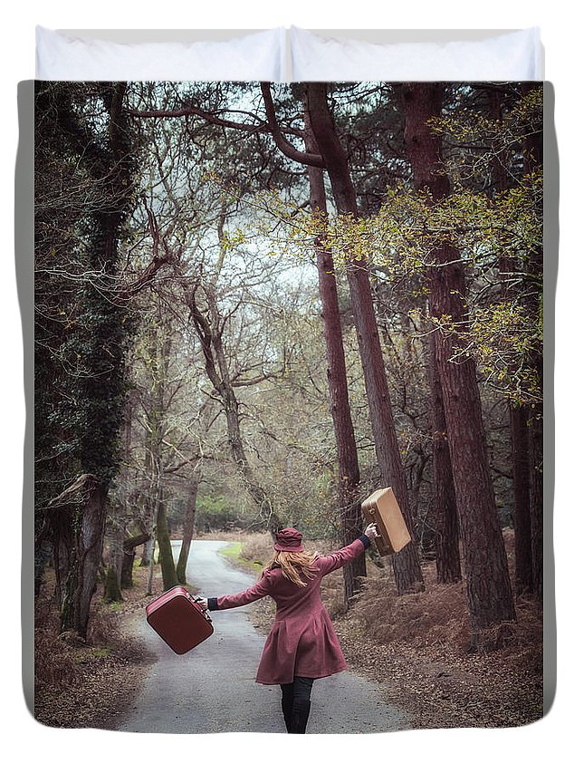 Girl Duvet Cover featuring the photograph Luggage by Joana Kruse