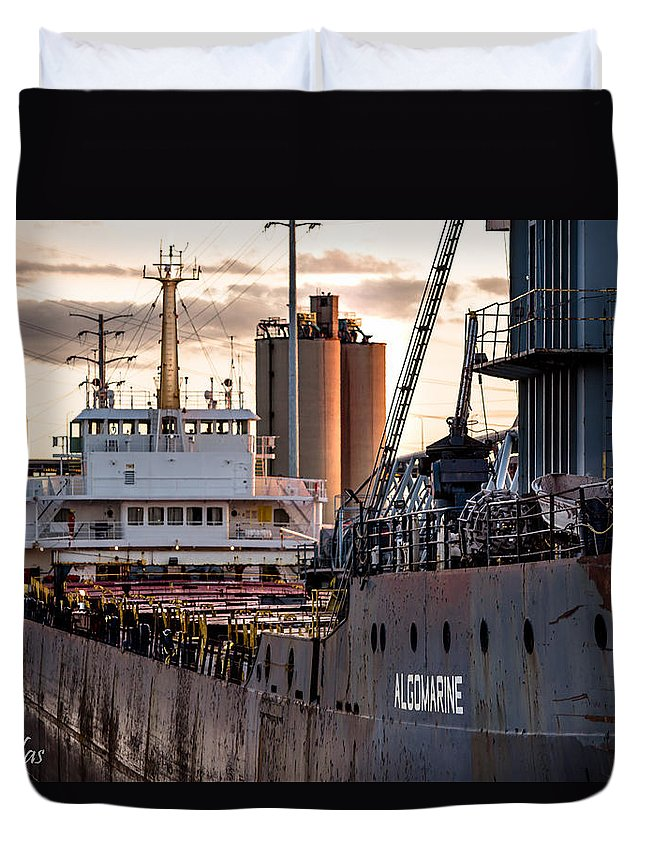 92nd Street Duvet Cover featuring the photograph M/v Algomarine by Christine Douglas