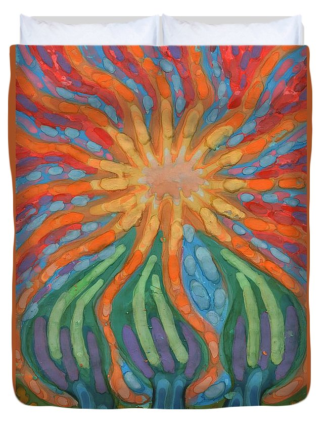 Colour Duvet Cover featuring the painting Mad Sun by Wojtek Kowalski