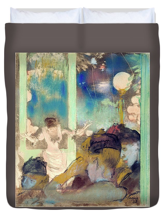 Cafe Duvet Cover featuring the painting Mademoiselle Becat At The Cafe Des Ambassadeurs by Edgar Degas