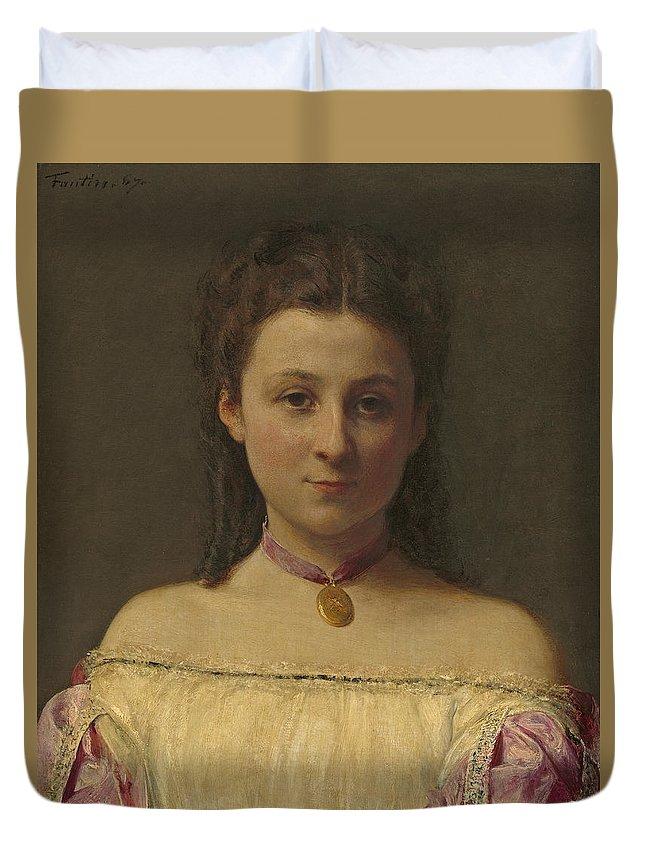 Henri Fantin-latour Duvet Cover featuring the painting Mademoiselle De Fitz-james by Henri Fantin-Latour