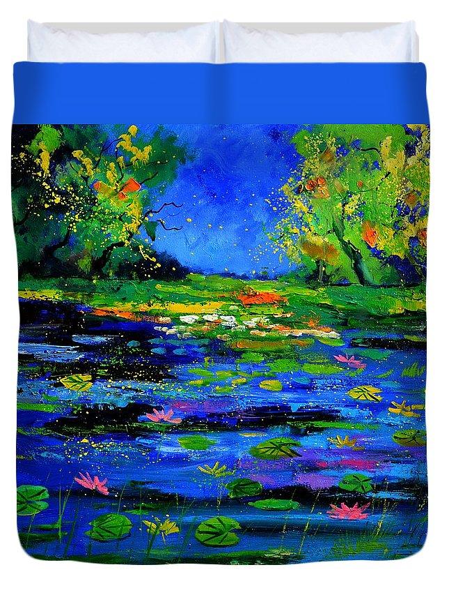 Landscape Duvet Cover featuring the painting Magic pond 765170 by Pol Ledent