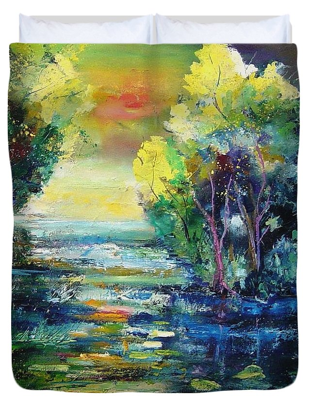 Pond Duvet Cover featuring the painting Magic Pond by Pol Ledent