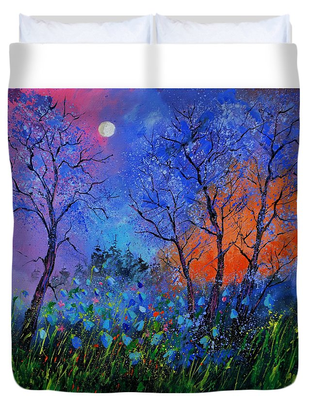 Landscape Duvet Cover featuring the painting Magic wood by Pol Ledent