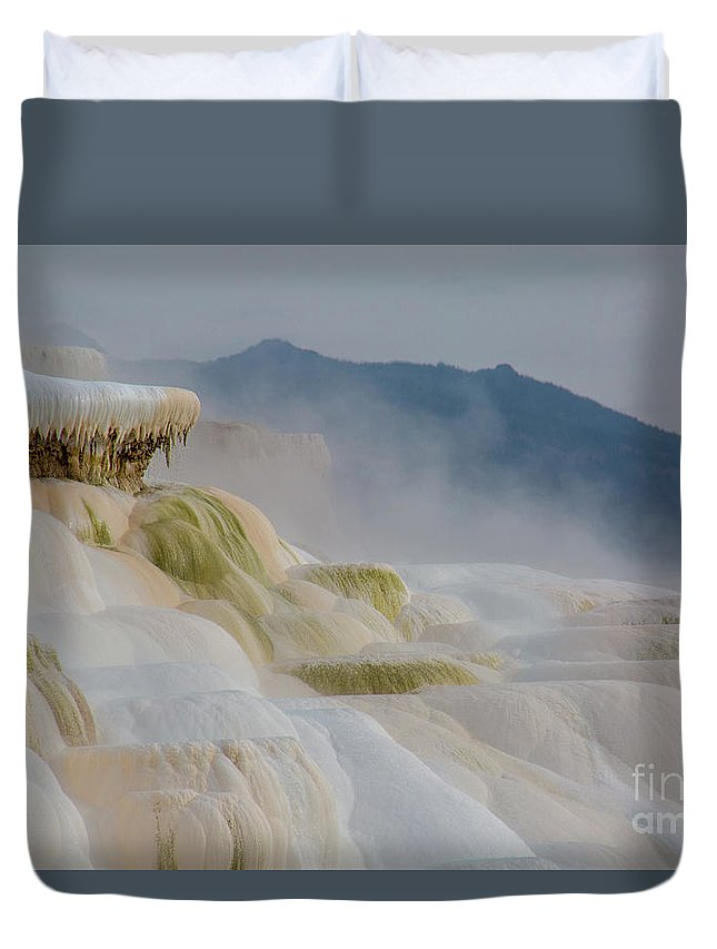 Mammoth Hot Springs Duvet Cover featuring the photograph Mammoth Beauty by Carolyn Fox