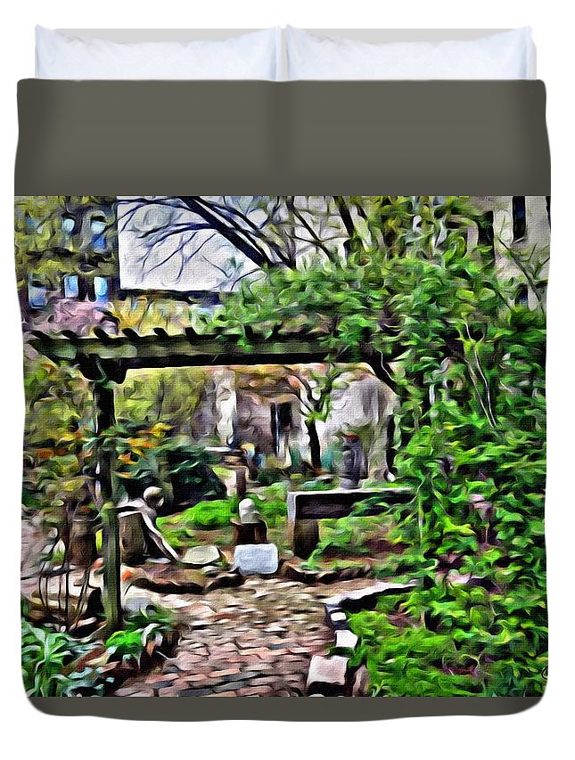 New York City Buildings Duvet Cover featuring the photograph Manhattan Community Garden by Joan Reese