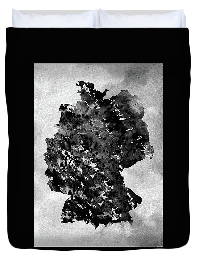 Germany Duvet Cover featuring the digital art Map Of Germany-black by Erzebet S
