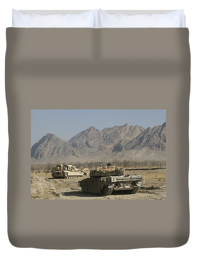 Marines Duvet Cover featuring the photograph Marines Conduct Combat Operations by Stocktrek Images