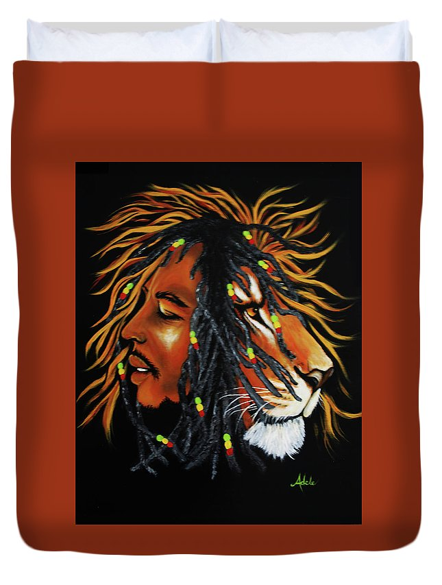 Bob Marley Duvet Cover featuring the painting Marley by Adele Moscaritolo