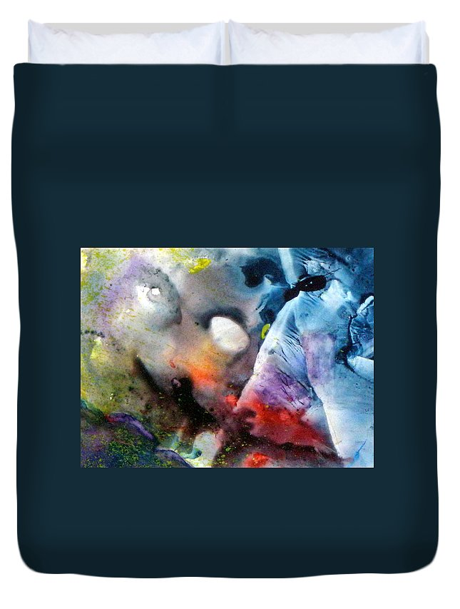 Mask Duvet Cover featuring the painting Masked Acceptance by Janice Nabors Raiteri
