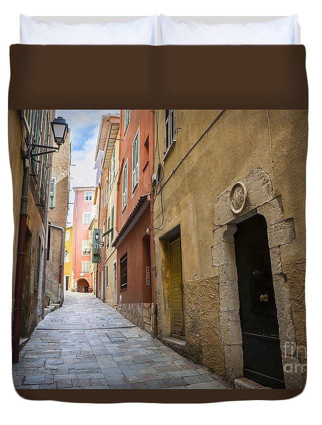 Villefranche-sur-mer Duvet Cover featuring the photograph Medieval Street In Villefranche-sur-mer by Elena Elisseeva
