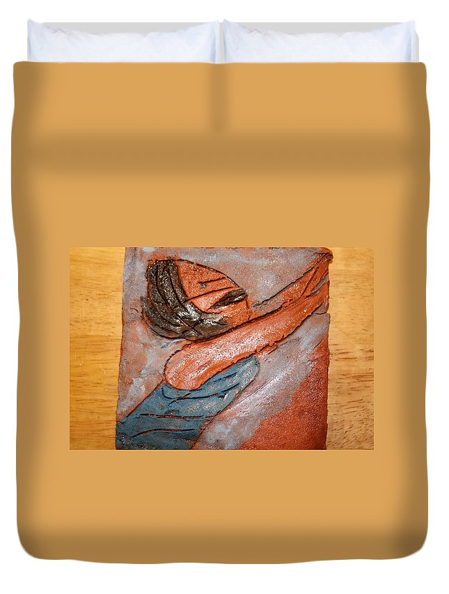 Jesus Duvet Cover featuring the ceramic art Melissa - Tile by Gloria Ssali