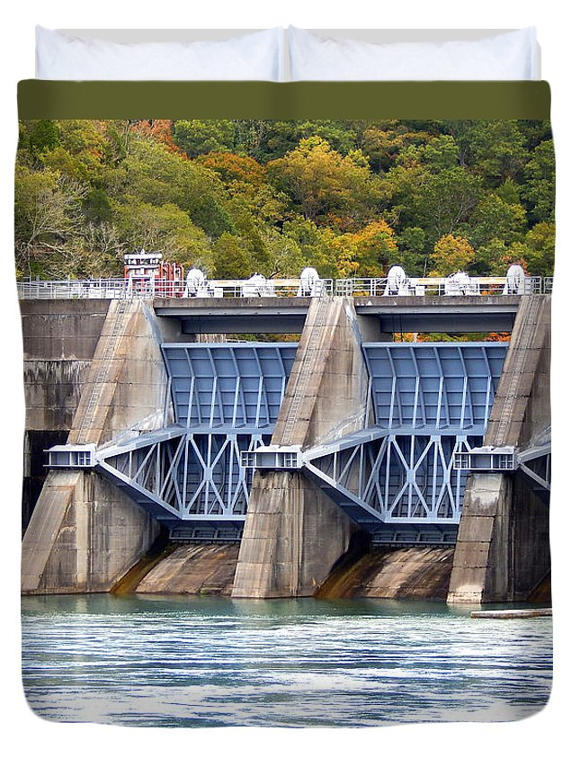 Photography Duvet Cover featuring the photograph Melton Hill Dam by Phil Perkins