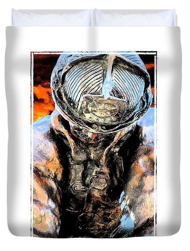 Firefighter Duvet Cover featuring the digital art Memorial To A Hero by Tommy Anderson