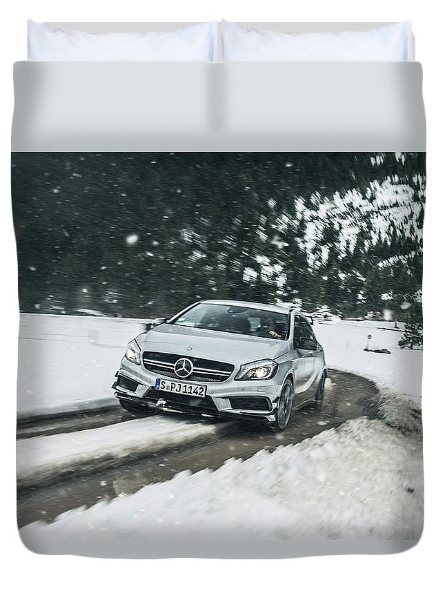 Mercedes Duvet Cover featuring the photograph Mercedes Benz A45 Amg Snow by George Williams
