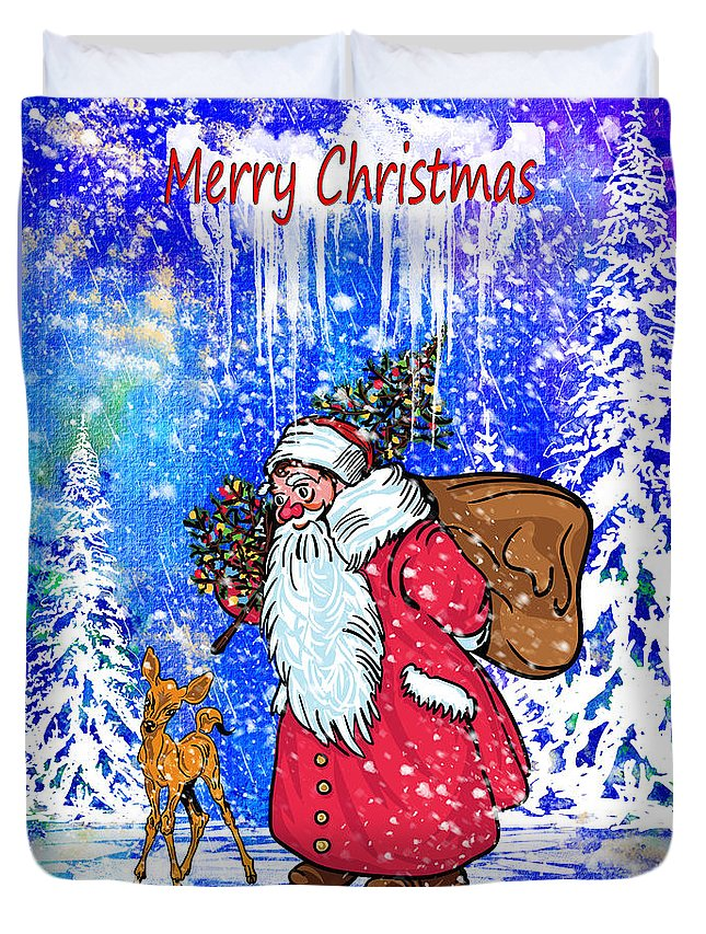 Merry Christmas Duvet Cover featuring the painting Merry Christmas. by Andrzej Szczerski