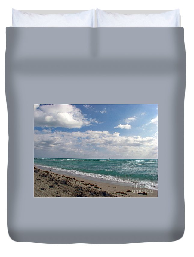 Miami Beach Duvet Cover featuring the photograph Miami Beach by Amanda Barcon