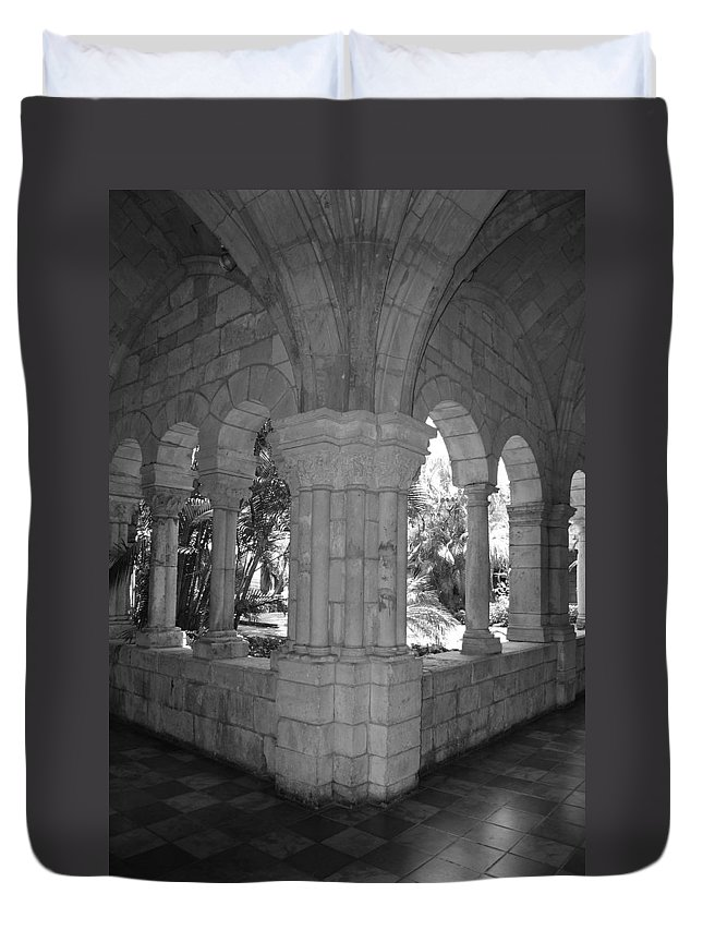 Black And White Duvet Cover featuring the photograph Miami Monastery In Black And White by Rob Hans