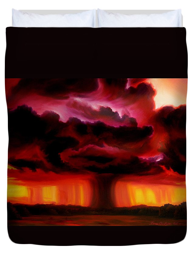 Skyscape Duvet Cover featuring the painting Microburst by James Christopher Hill