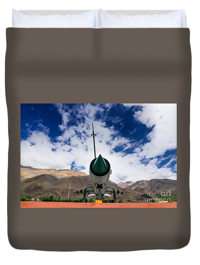 Mountain Duvet Cover featuring the photograph Mig-21 Fighter Plane Of Indian Air Force Used In Kargil War Displayed As Victorious Memory by Rudra Narayan Mitra