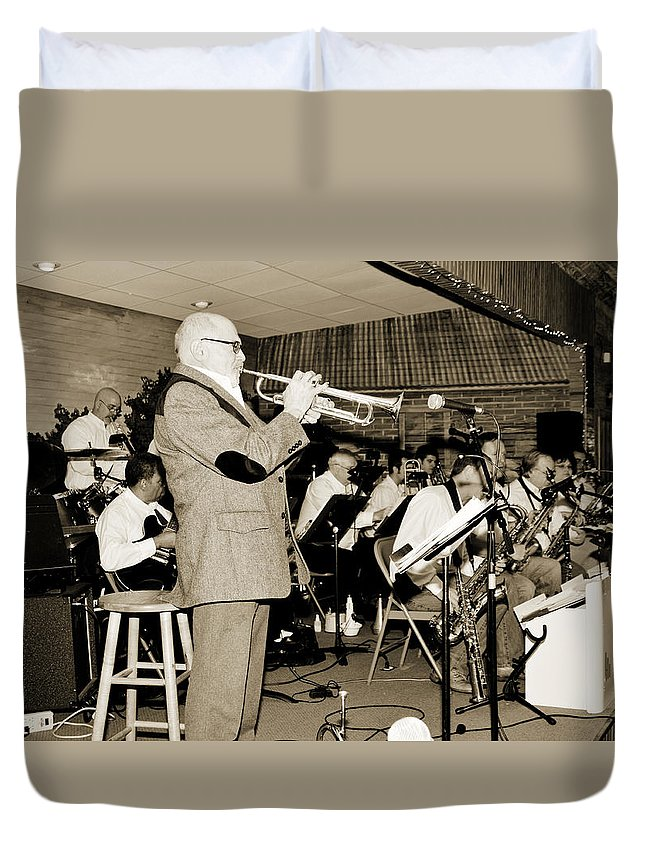 Mike Vax Duvet Cover featuring the photograph Mike Vax Professional Trumpet Player Photographic Print 3772.02 by M K Miller