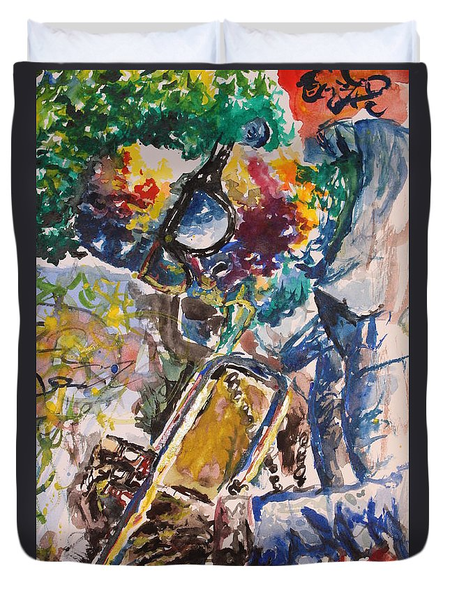 Miles Duvet Cover featuring the painting Miles Davis Jazz by Christian Obst