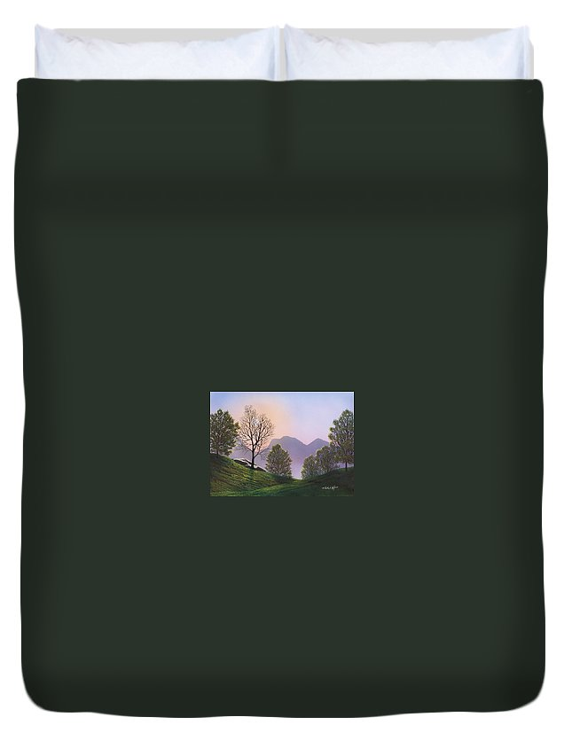 Landscape Duvet Cover featuring the painting Misty Spring Meadow by Frank Wilson