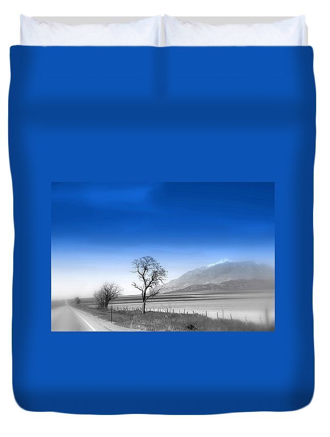 Misty Tree Duvet Cover featuring the photograph Misty Tree by Susanne Van Hulst