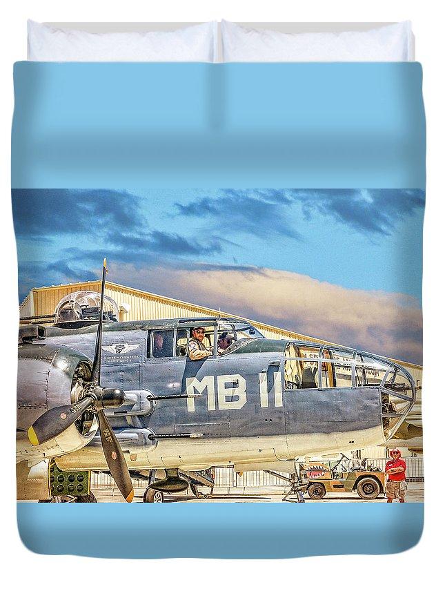 World War 2 Duvet Cover featuring the photograph Marine Mitchell B-25 Pbj by Sandra Selle Rodriguez
