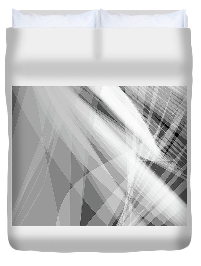 Wave Duvet Cover featuring the digital art Monochrome White Abstract Vector Background, Gray Transparent Wa by Svetlana Corghencea