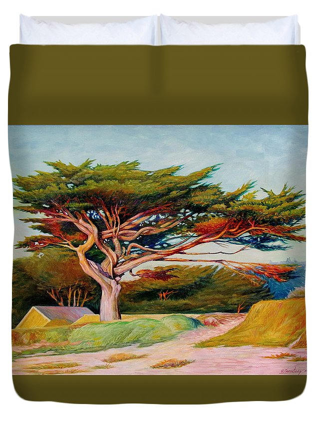 Landscape Duvet Cover featuring the painting Monterey Cypress by Alexander Chernitsky