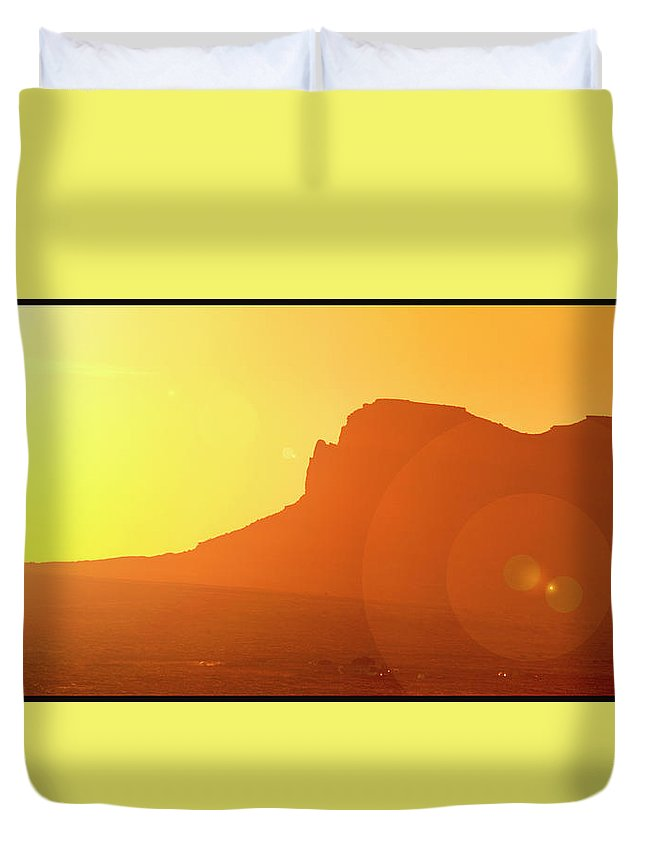 Colorado Plateau Duvet Cover featuring the photograph Monument Valley Sunrise by A Gurmankin