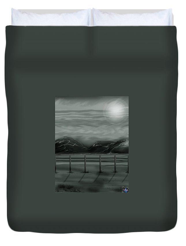Landscape Duvet Cover featuring the painting Moon Over The Beartooth by Anne Norskog