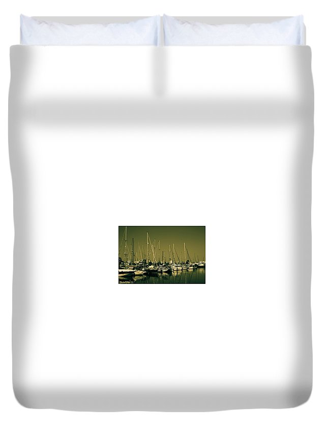 Boats Duvet Cover featuring the photograph Moorings by Linda Foakes