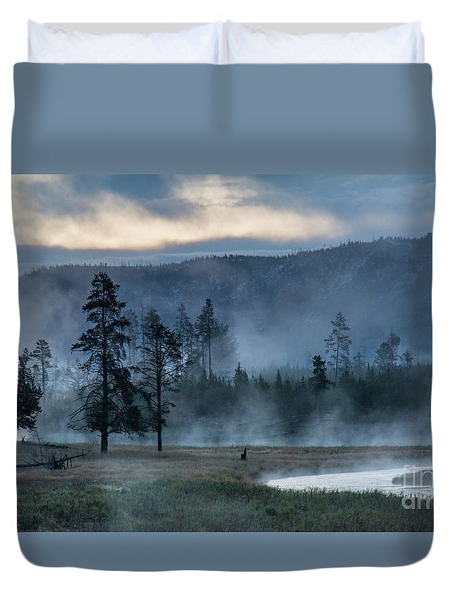 Madison River Duvet Cover featuring the photograph Morning by Carolyn Fox