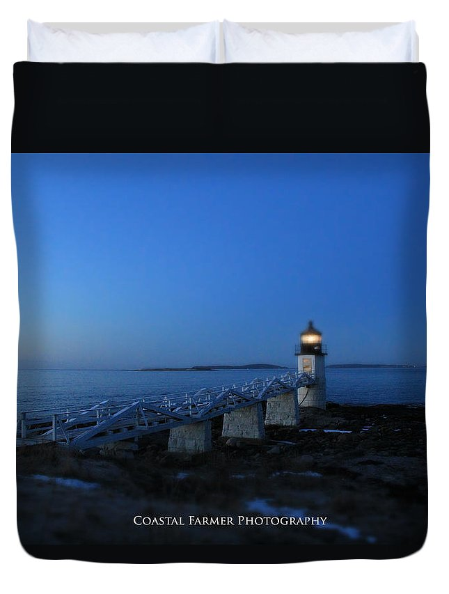 Lighthouse Duvet Cover featuring the photograph Morning Colors by Becca Wilcox