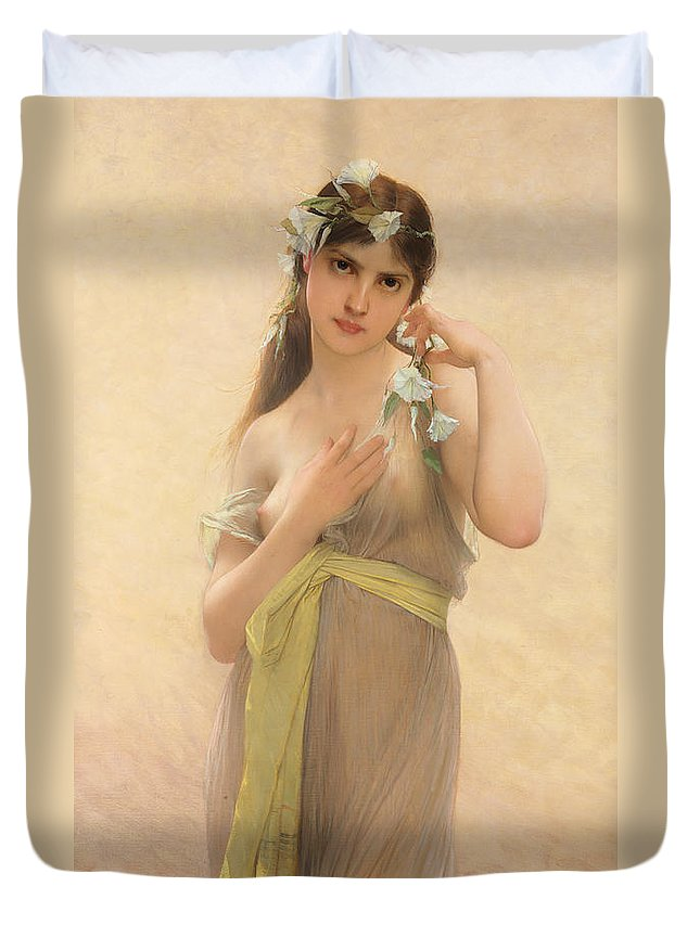 Female Duvet Cover featuring the painting Morning Glory by Jules Joseph Lefebvre