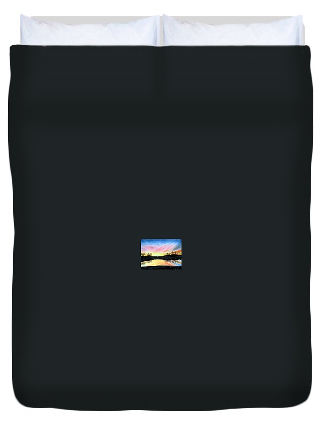 Peaceful Duvet Cover featuring the painting Morning Glory by Mary Tuomi