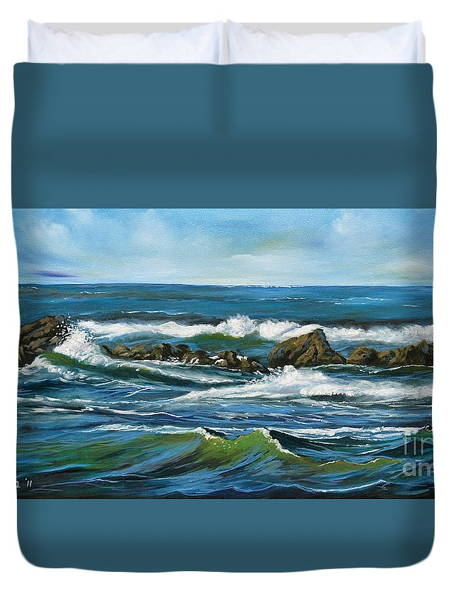 Seascape Duvet Cover featuring the painting Morning Rush by Larry Geyrozaga