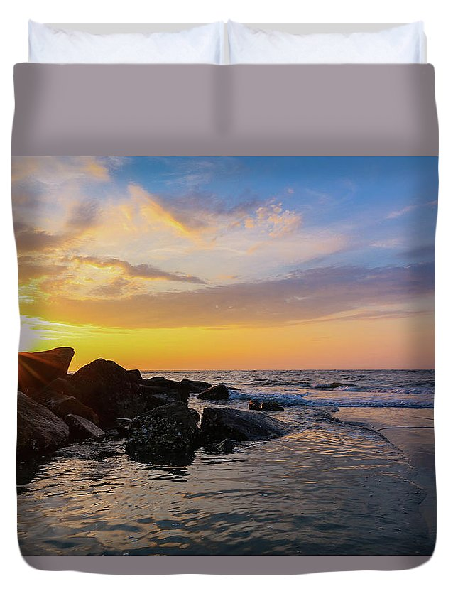 Morris Island Duvet Cover featuring the photograph Morris Island Sunrise by Todd Wise